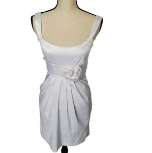 Wishes White Satin Dress with Pockets